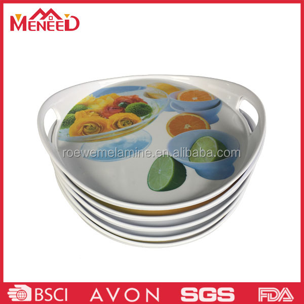 Fruit full print hard plastic melamine tray for bread
