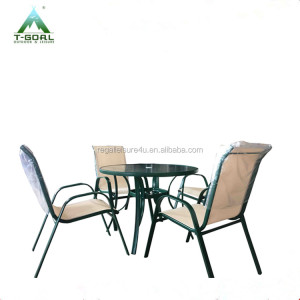 5pcs Patio garden garden furniture outdoor furniture sling Chair And Round Table Set dinning table set