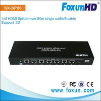 High Quality of Foxun HDMI splitter with 8 port hdmi splitter amplifier cat5/6 over 50m