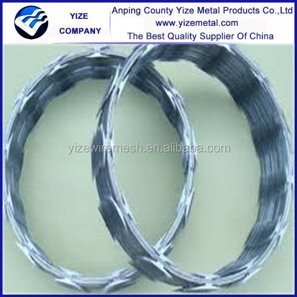 BTO 22 hot dipped galvanized razor barbed wire/ galvanized barbed wire coil type (Direct factory)