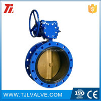 Centric type double flange warm-gear type butterfly valve resilient seat low price