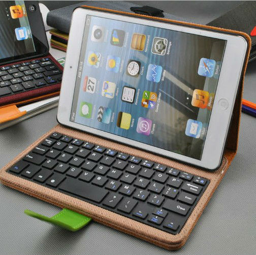 With keyboard leather case for iPad mini leather stand case quality ipad case