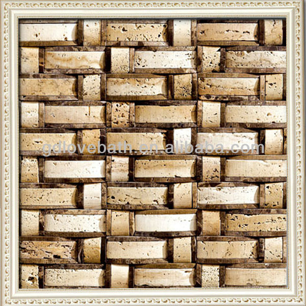 Lovehome 3D natural emperador dark mix travertine stone mosaic tiles foshan mosaic for wall and floor