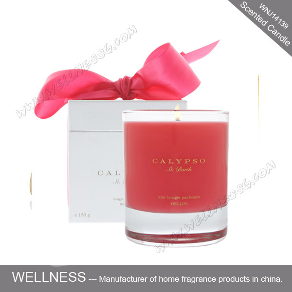 decoration luxury scented red color candle in glass with gift box