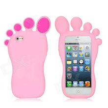 DJY Cute Foot Shape Protective Silicone Soft Back Case for your iPhone 5 - Pink