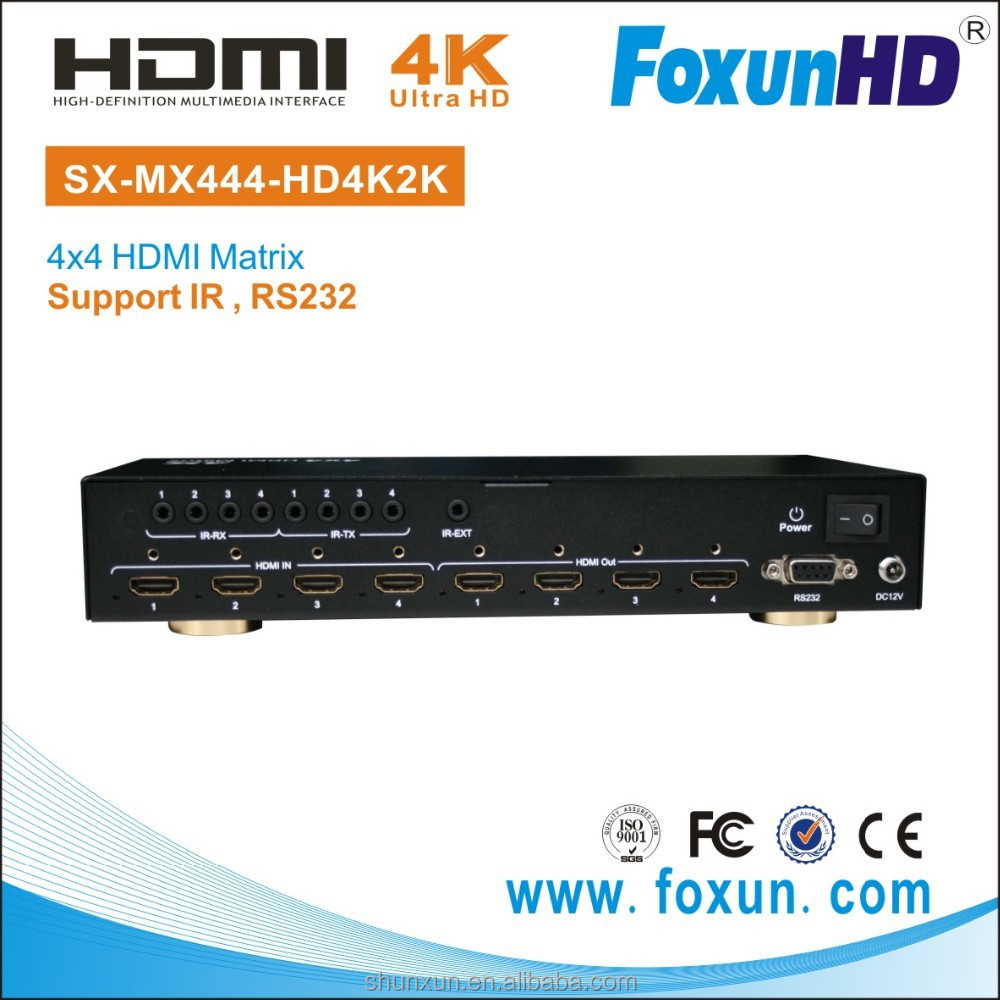 Shunxun SX-MX444-HD4K2K 4K2K 4x4 Auido/Video AV HDMI Matrix For HD TV