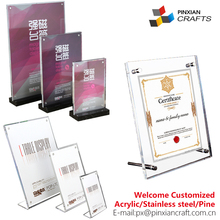 Customized Acrylic Menu Display Stands with Business Card acrylic sign holder 5x7