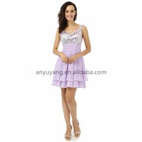 EPM0141 Short Sexy Lavender Beaded Cocktail Dress With Straps