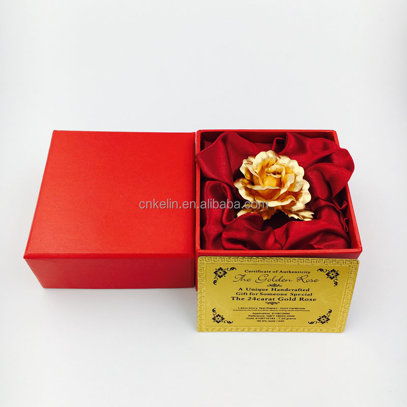 5cm 24K Gold Foil metal crafts Golden Rose Brooch with gift box and certificates