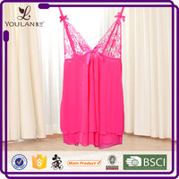 Wholesale Price Pink Lace Sexy Bedroom Wear Transparent Lingerie