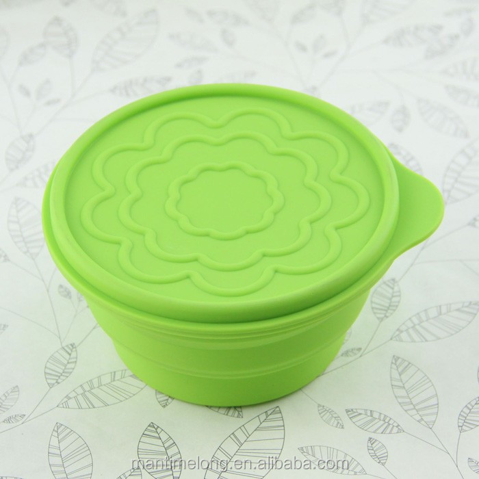 Eco-Friendly Food grade silicone Folding Bowls Lunch Boxes Child Safety Tableware for Outdoor Portable