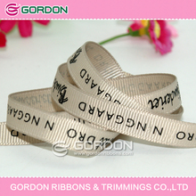 letter printed grosgrain ribbon,customized ribbon,cream ribbon with black logo