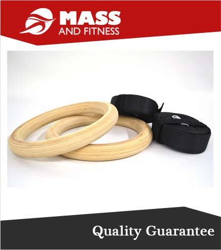 High Quality Crossfit Exercise Wooden Gym Ring with Strap