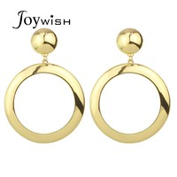 Gold Plated Metal Big Round Stud Simple Design Earrings