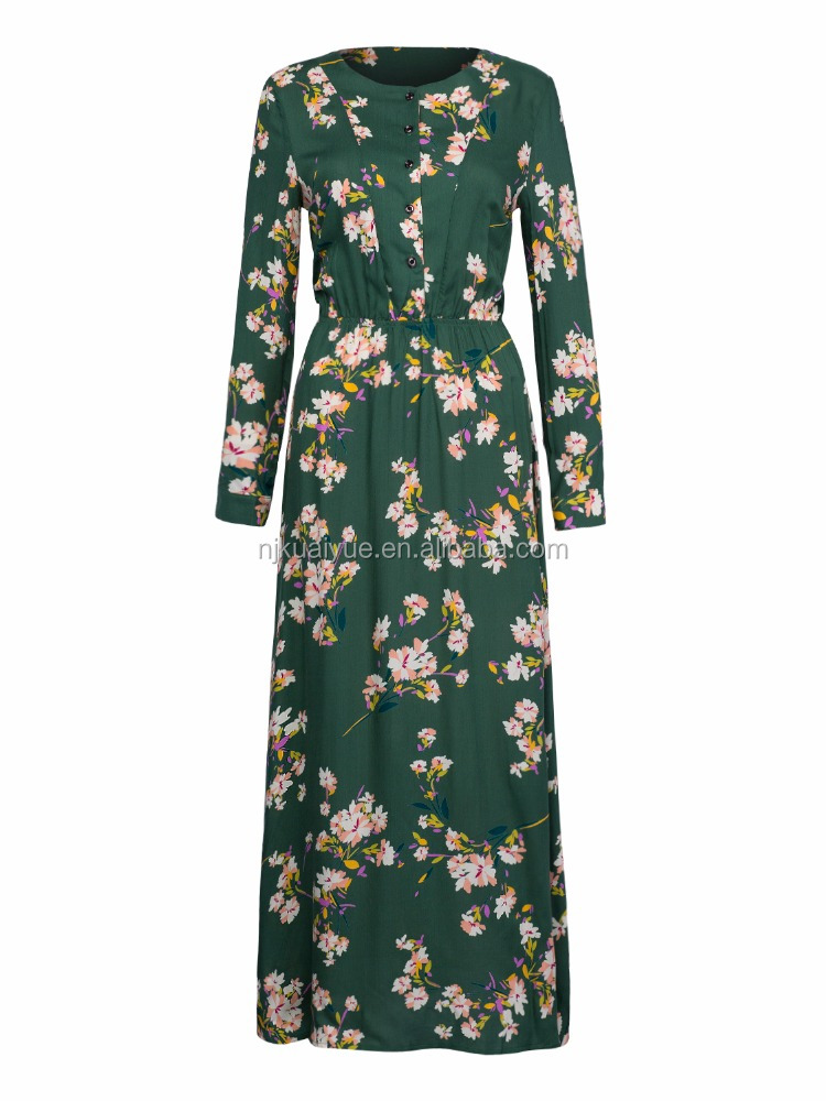 casual long sleeve floral printing design maxi cotton <strong>dress</strong> hot sale