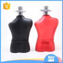 A1329-90ML shaped custom glass red or black perfume refillable glass bottles body shape