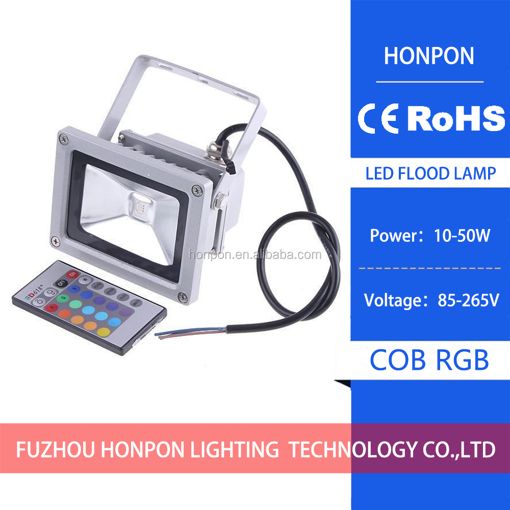 led <strong>flood</strong> lamp 20W COB RGB Flash LED <strong>Flood</strong> Light Garden Landscape Lamp + remote control 85-265V RGB spotlight