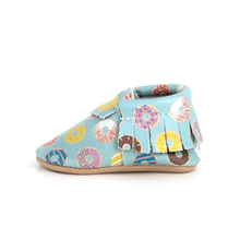 Customized Printing Children Shoes Wholesale Leather Baby Moccasins