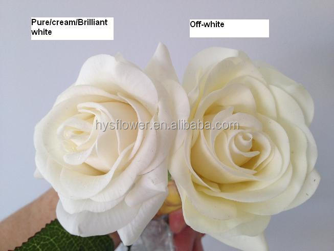 artificial flower white rose,high quality real touch wedding decorative rose flower head