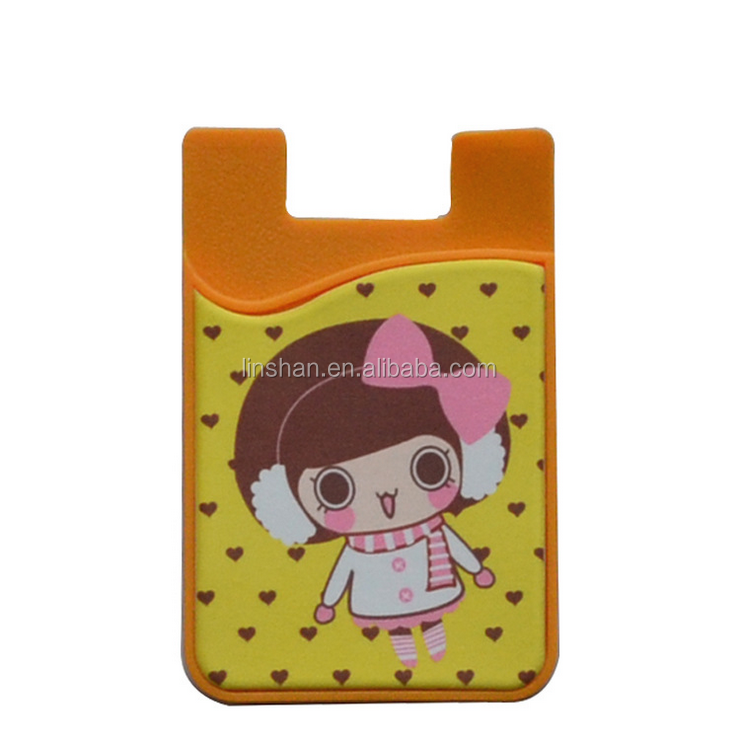 Newest style personalized 3M sticker silicone card holder silicone cell phone smart wallet