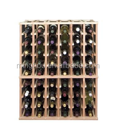 Space saving under stairs wood wine bottle rack