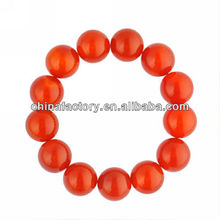Elastic 16mm Men Red Nature Bead Onyx Bangle Bracelet