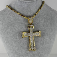 SP0803014 Unique Simple High Quality Stainless Steel Full CZ Cross Pendant for Men Jewelry