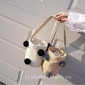 Summer Style Cylinders Handbags Hair Straw Bag Woven Beach Bag