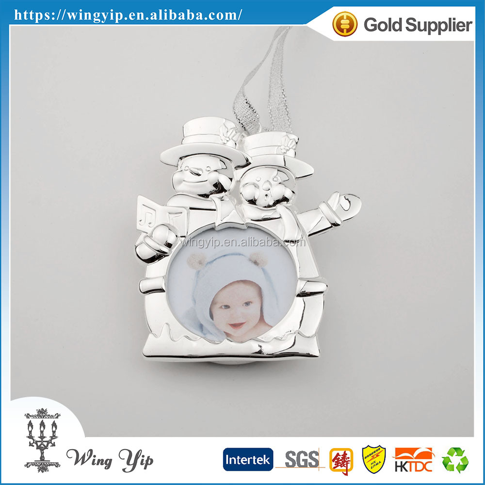 Manufacturer fancy Snowman with photo Silver Plated metal Christmas hanging for Ornament