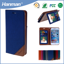 2017 hot selling jean pu wallet mobile phone case for iphone7