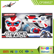 Hot sale children play space weapon battery operated light & sound toy gun with launcher and mask toys for kids