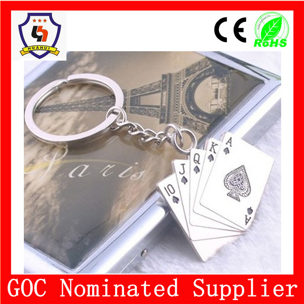 wholesale custom poker & playing cards keychain with spade 10 J Q K A (HH-key chain-537)