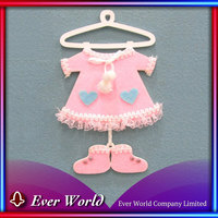 Fabric Christmas Decoration Stock Christmas MDF Baby Pink Baby Dress & Shoes Ornament
