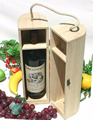 Cylinder plain wood wine box for single bottle with handle