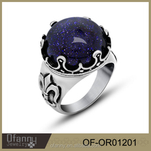 Fashion blue gemstone ring 925 sterling silver jewelry ring wholesale jewelry fashion rings