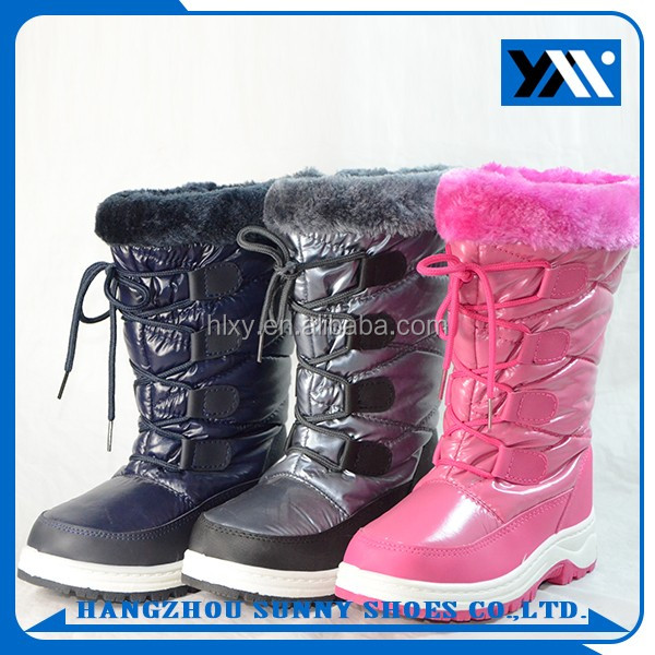 China supplier warm winter girls pink snow waterproof boots with lace