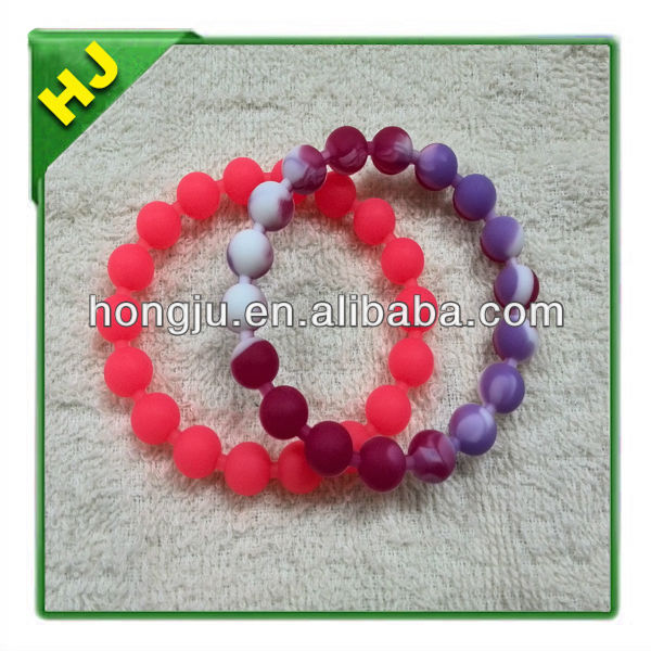 Bead Bracelet Silicone Rubber Sport Jell Wristband