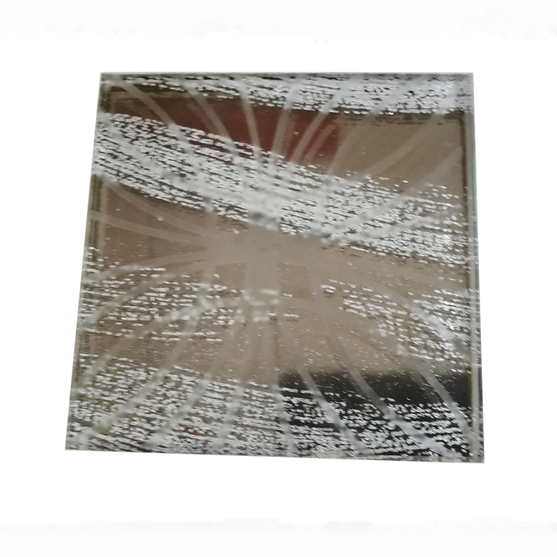 China clear and colored float / reflective / tinted laminated tempered glass with acid etched and fabric for decoration