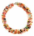 Beautiful colored natural stone necklace, handmade crystal collar necklace, colorful crystal jewelry necklace