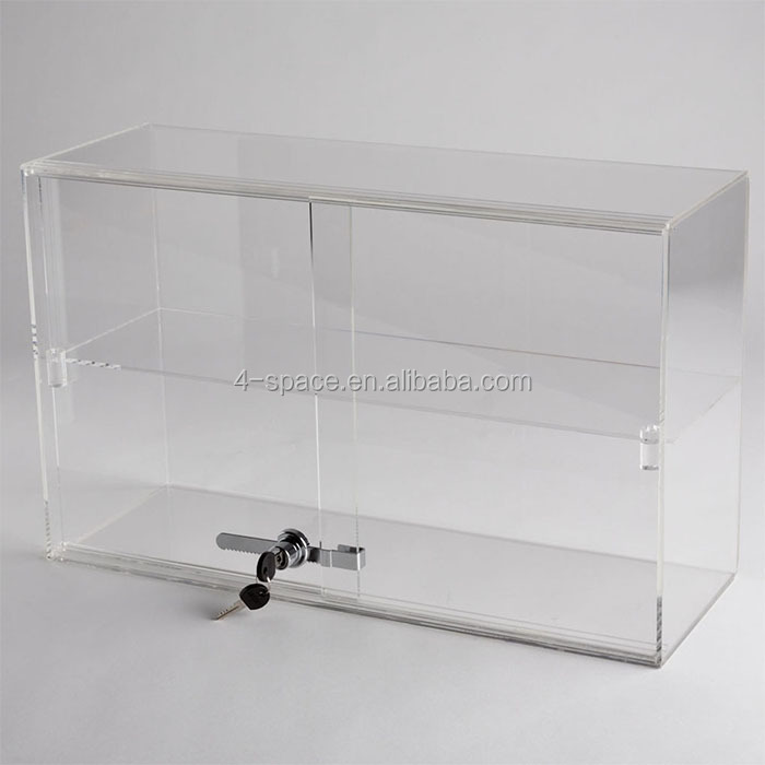 Locking Design Clear Acrylic rectangle 1 Shelf Counter Top Display Case cube small box