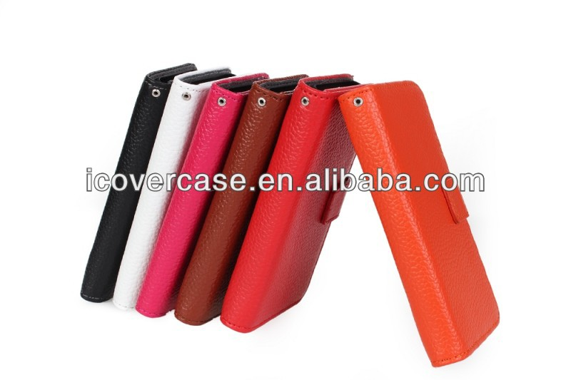 Genuine leather Liche texture wallet case for iphone 5c