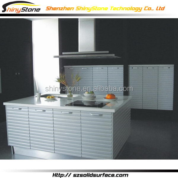 Graceful hospital lab translucent stone pearl white kitchen cabinet in china