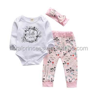 2018 Cute Newborn Baby Girls Floral Hello World Clothes Tops Romper +Pants +Headbands Outfits Set Clothing