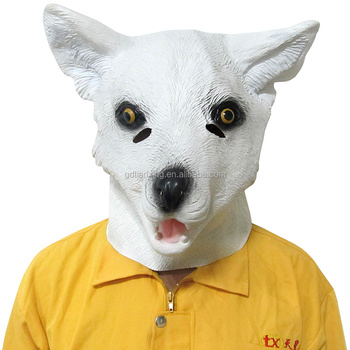 rubber latex fox mask, full head animal mask, kids costume party mask