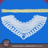 Professional OEM/ODM lace manufacture embroidered neck patch design of ladies suits