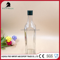 500ml Square Glass Olive Oil Bottle with Spout and Aluminum Lid
