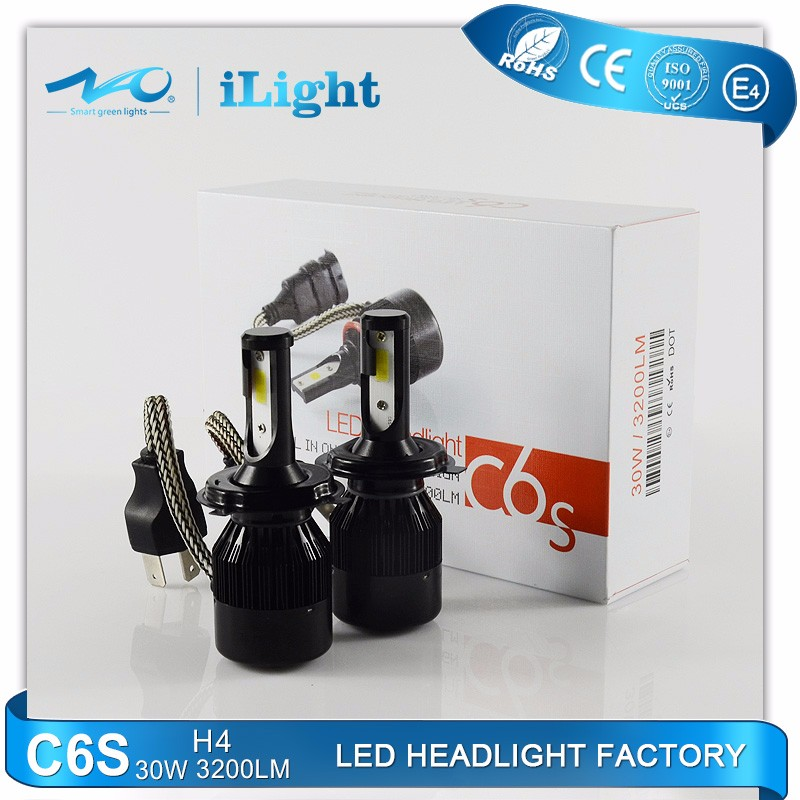 NAO High Power Car Led Headlamp 60w 6400lm C6S-H4 replace hid ballast