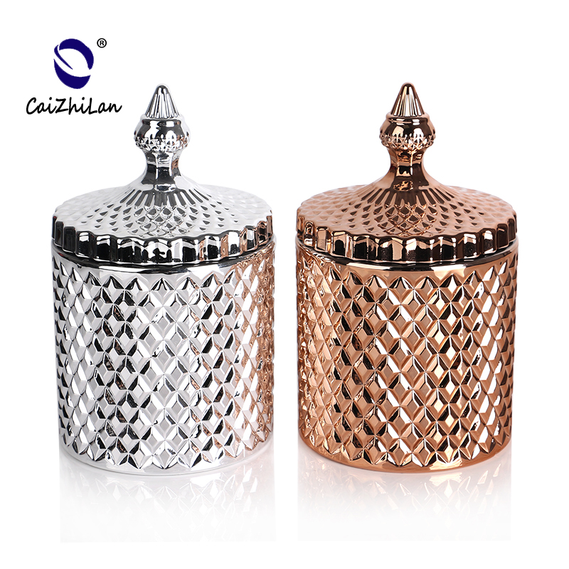 Silver Jar Scented Candle Luxury container jars,Glass candle jars