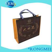 Customized logo blue good sewing skill non-woven wine bags