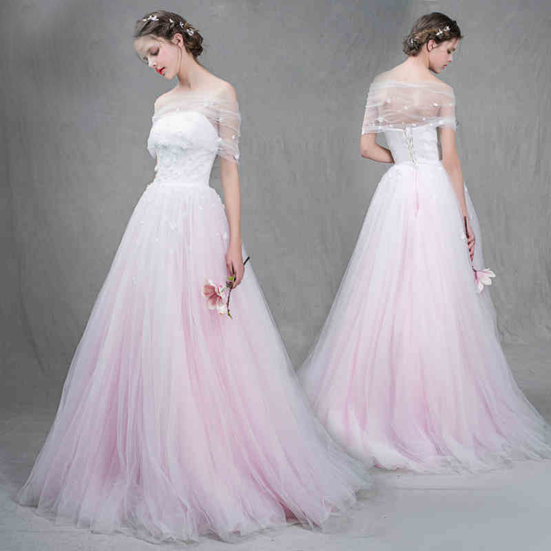 New Pink/White Floral Fairy Wedding Bridal Gown Dress Princess Dress custom size